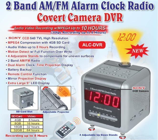 Hidden Camera Clock Radio And Recorder