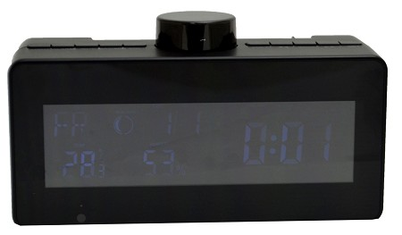 Wi-Fi Covert Weather Clock Radio Camera with Rotating Lens
