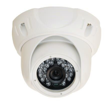 Weatherproof Dome Security Camera with 24 IR LEDs
