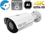 8MP 4K IP Bullet Camera - Motorized Lens, Infrared and AI Functions