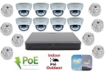 16 Channel NVR with 8 Infrared Dome Cameras