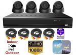 4 Channel 1080p Black Dome Surveillance System