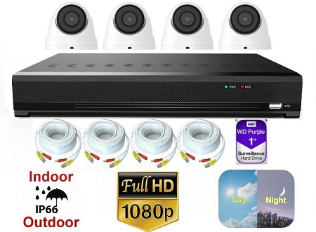 4 Channel 1080p Dome Camera Surveillance System