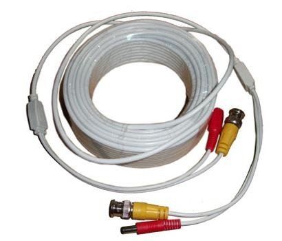 Video and Power Cable - White 100 Feet